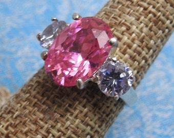 stunning vintage sterling silver and large pink ice ring size 7 1/2