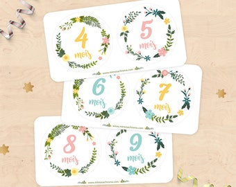 Stickers for steps months of pregnancy (from 4 to 9 months) for future MOM