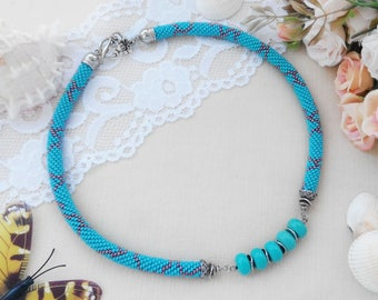 Turquoise elegant necklace Christmas gift-for-mom Modern bridal necklace for her Blue jewelry Chunky beaded necklace Daughter birthday gift