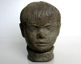 1966 / Young Boy Bust / Boy / Head Sculpture / Mid Century / Modern / Atomic Art Sculpture / Mod Art / Artist Signed / J. Ritt / Terracotta