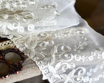 Ivory embroidered lace, Ivory lace trim, Net lace trim, Embroidered tulle lace, Bridal lace, Shabby chic lace, Lingerie lace, Lace trim