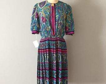 geometric print day dress | paisley ornament striped day dress | pleated skirt shirtdress