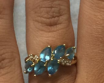14k Yellow Gold 3 carat Blue Topaz Cluster Ring