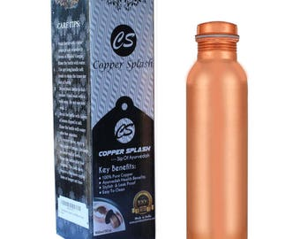 Pure COPPER Water Bottle  Leak Proof, Label Free, Hand crafted.AYURVEDIC Health Benefit. 900ml/30Oz