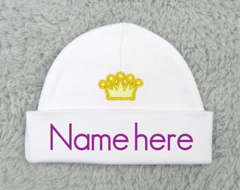 Personalized baby hat with crown appliqué - micro preemie, preemie, newborn - baby shower gift, newborn photography, preemie clothes, NICU