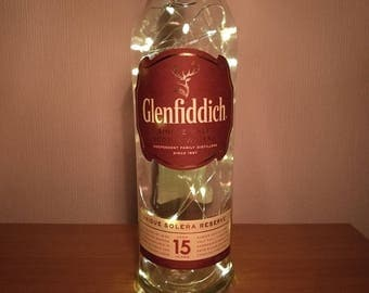 Upcycled Glenfiddich 15 Year Old Whisky LED Light Bottle