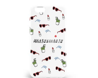 Hull Marseillaise. PVC. iPhone 4, 4s, 5, 5s, SE, 5 c, 6, 6, 6 Plus 6s Plus, 7 and 7 more, design illustration, madeinfrance artmars, lucy