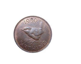 1950 farthing Coin With a Wren from the United kingdom, Perfect for Birthdays ,Anniversary and within Jewellery