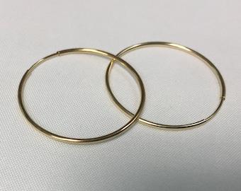 14KT Large Gold Endless hoops