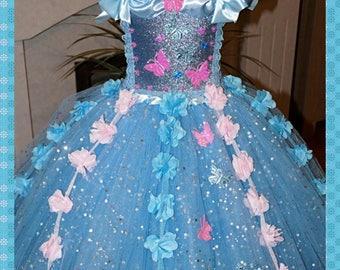 Handmade Girls Cinderella Disney Princess Inspired 2015 Movie Tutu Dress