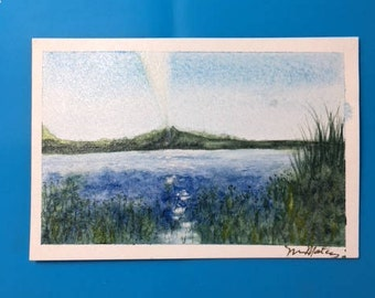 Lake side Reflections watercolor post card