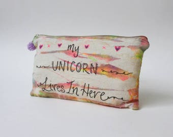My Unicorn Lives in Here  |Tie Dye Toiletry Zip Bag | Quote | Inspirational | Hippie Gift | Travel Gift | Birthday Gift | Christmas Gift
