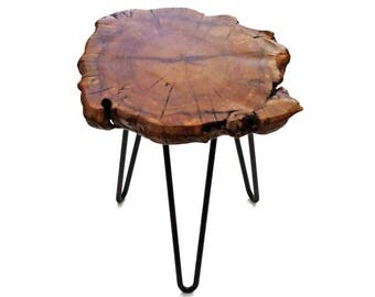 Unique Natural Wood Stump Rustic Surface Side Table HW950-907