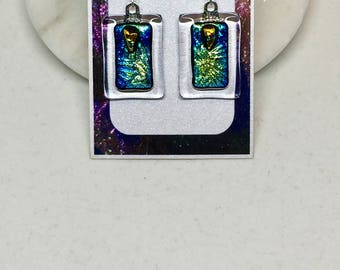 Earrings – Blue, Green, and Gold Dichroic Glass Earrings