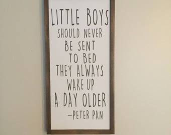Little Boys Should Never Be Sent To Bed, Peter Pan Quote, Nursery Sign Boy, Nursery Wall Decor, Boys Room Wall Decor