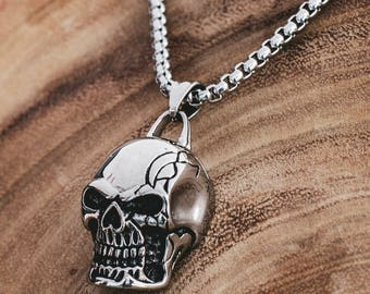 Skull necklace, Skull pendant, Human skull necklace, gift for him, Biker jewelry, Pirate chain, Gothic skull, Accessories for him, BDSM