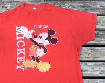 80's Florida Mickey Mouse Red Distressed Screen Stars Made in USA t-shirt Butter Paper Thin Awesome