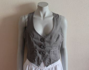Women's Vests Grey Vest Gray Cotton Vest Women Vest Romantic Classic Gray Fitted Waistcoat Medium Size