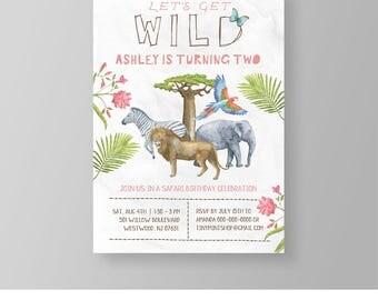 Wild Safari Birthday Invitation Template, Printable Girl Birthday Party Invite, Jungle Zoo Animal, Instant Download, 100% Editable #023GBD