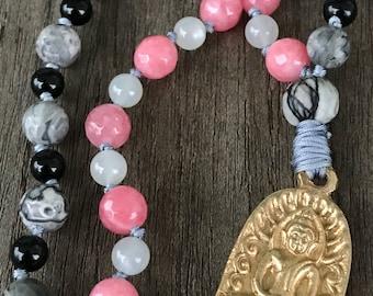 Pink & Black Buddha Mala