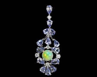 Ethiopian Opal Necklace, October Birthstone Jewelry, Art Deco Necklace, Tanzanite Pendant, December Birthstone Necklace, Statement Necklace