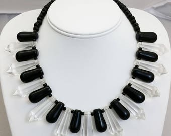 Handmade Faceted Czech Glass & Bohemian Wedding Bead Pendants Necklace w/ African Glass Trade Beads and Sterling Silver Clasp