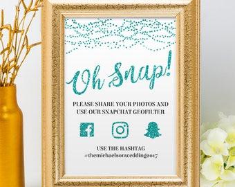 Printable Aqua Glitter Look String Lights Social Media Wedding or Event Hashtag Signs, 2 Sizes, Editable PDF, Instant Download