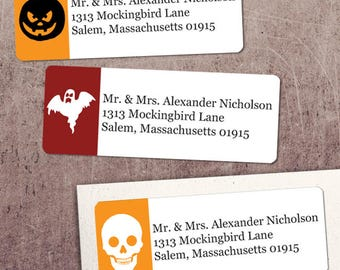 "Printable Halloween Symbols Return Address Labels, Red and Orange, 30 Personalized 2 5/8"" x 1"" Labels, Editable PDF, Instant Download"