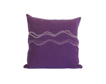 """Hand Embroidered Linen Throw Pillow - """"Waves"""" in Purple - 18""""x18"""""""