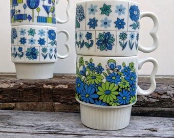 Vintage Japanese Floral Stacking Mugs Set of 4