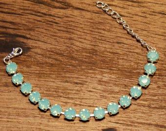 8mm Swarovski Pacific Blue Opal Bracelet