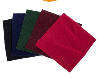"""Velveteen/Artificial Velvet Samples - 3"""" x 3"""" Size, Heavyweight Fabric, Soft with a Dense Weave and Smooth Finish"""