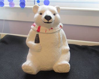Vintage 1994 Coca Cola Polar Bear Christmas Cookie Jar Always Cool  2743