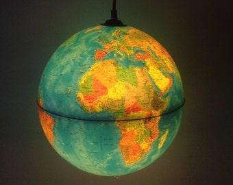 "Light up translucent Globe Pendant Light, Rand McNally Physical/ Political 11"" globe"