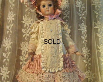 """SOLD ~French Doll Dress for 20"""" Antique Lace Victorian Style - Silk ~ Cream & Dusty Pink"""