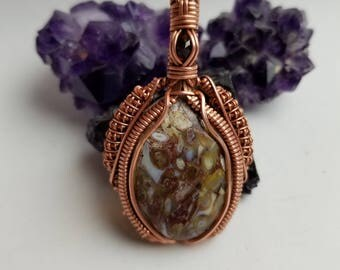 Jasper and rhodolite garnet copper wire wrap