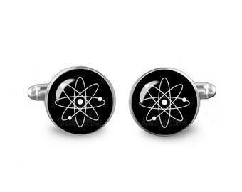 Atom Cuff Links Atom Cufflinks 16mm Cufflinks Gift for Men Groomsmen Science Cuff Links