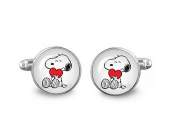 Snoopy Cuff Links Snoopy Heart Cuff Links 16mm Cufflinks Gift for Men Groomsmen Novelty Cuff links Fandom Jewelry
