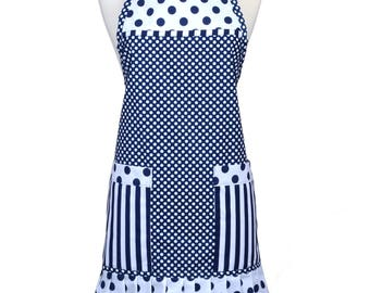 Womens Ruffled Apron Cute Navy and White Stripes Polka Dots Retro Traditional with Large Pockets and Adjustable Neck Ties