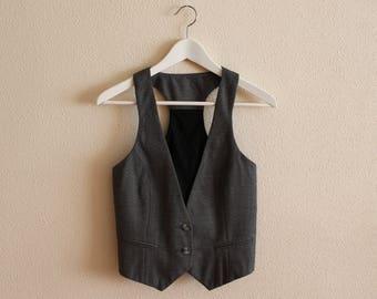 Grey Vest Gray Women's Vest Women Steampunk Vest Fitted  Waistcoat Small  Size