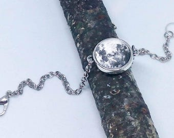 Custom Moon phase bracelet, Double sided Moon jewelry, Personalized Birthday wedding gift, Two sided solar system Cosmic space silver glass