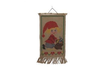 Cute vintage retro Christmas Wall hanging Tapestry with handembroidered santa / elf / gnome. Made in Sweden Scandinavian.