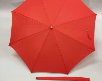 Monogrammed Letter P Vintage 50s 60s Red Umbrella | Early Spring Action Umbrella Bumbershoot Initial P Made in Japan Bridesmaid Friend Gift