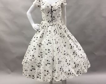1950's White and Black Cotton Starburst Dress by Therese Originals by Ted Herman | Atomic Print | Pin Up | MCM | Size 2 | Extra Small