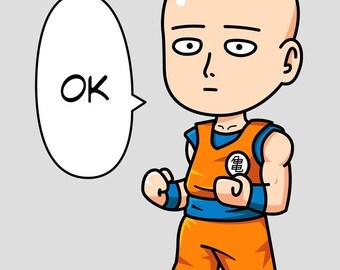 Saitama Goku Mashup Print 12x16