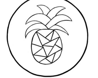 Geometric Pineapple Hand Embroidery Pattern
