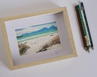 Original pencil drawing, seascape.