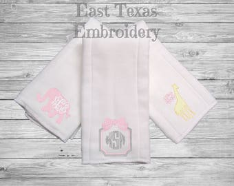 Personalized Burp Cloths for Girls - Monogrammed Burp Cloths - Baby Shower Gift for Girls - Preppy Baby Girl Gifts - Preppy Burp Cloths