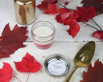 Soy Candle - Cranberry | Mason Jar Candles | Food Gift | Container Candles | Homemade Candles | Scented Soy Candle | 4 oz Soy Candle