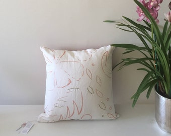 Hand embroidered Pillow Case, tropical accent pillow, flower decorative pillow, embroidery pillow, ethical design, botanical throw pillow,